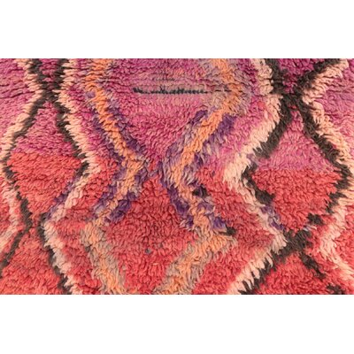 Moroccan Vintage Boujad Hand Knotted Wool Orange/Pink Area Rug