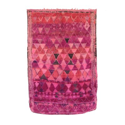 Moroccan Vintage Boujad Hand Knotted Wool Pink Area Rug