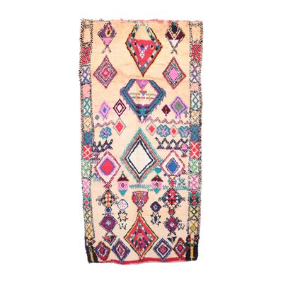 Moroccan Vintage Boujad Hand Knotted Wool Pink/Beige/Blue Area Rug