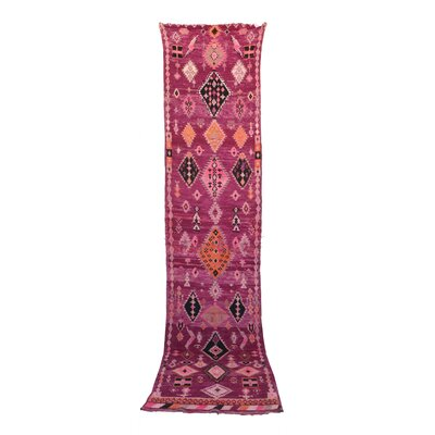 Moroccan Hand Woven Wool Pink Area Rug