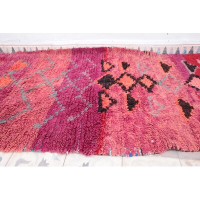 Moroccan Hand Woven Wool Pink/Red Area Rug