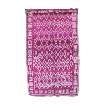 Moroccan Hand Woven Wool Purple Area Rug