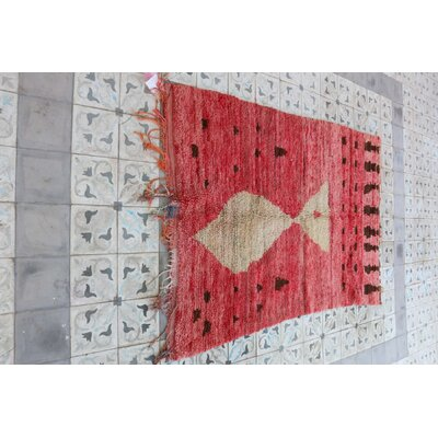 Moroccan Hand Woven Wool Red Area Rug