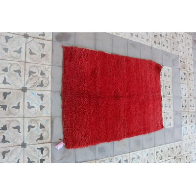 Moroccan Hand Woven Wool Red Area Rug Rug Size: Rectangle 33 x 49