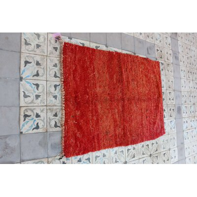 Moroccan Hand Woven Wool Red Area Rug Rug Size: Rectangle 37 x 54