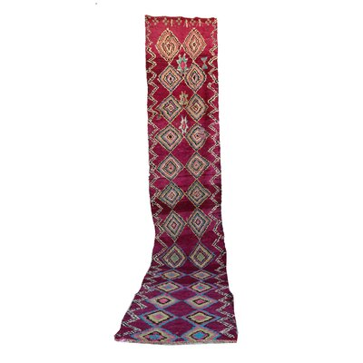 Moroccan Hand Woven Wool Pink Area Rug