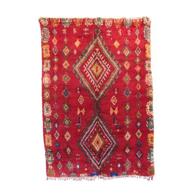 Moroccan Hand-Woven Wool Red Area Rug