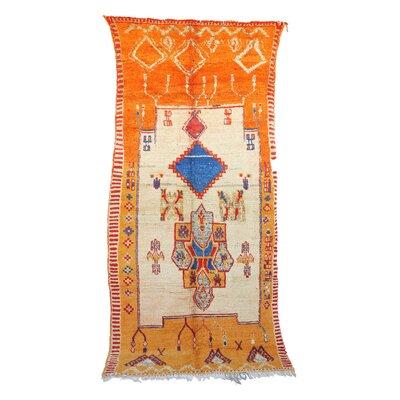 Moroccan Hand Woven Wool Beige/Orange Area Rug