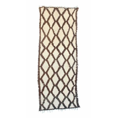 Azilal Vintage Moroccan Hand Knotted Wool Brown/Cream Area Rug