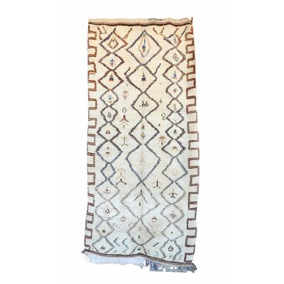 Azilal Vintage Moroccan Hand Knotted Wool Beige/Orange Area Rug