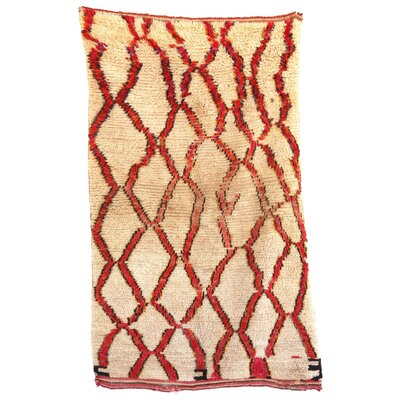 Azilal Vintage Moroccan Hand Knotted Wool Beige/Red Area Rug