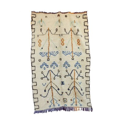 Azilal Vintage Moroccan Hand Knotted Wool Beige/Blue Area Rug
