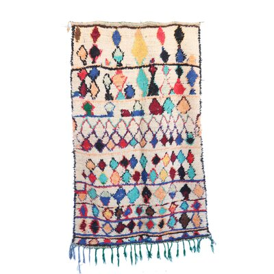 Azilal Vintage Moroccan Hand Knotted Wool Beige/Turquoise/Blue Area Rug