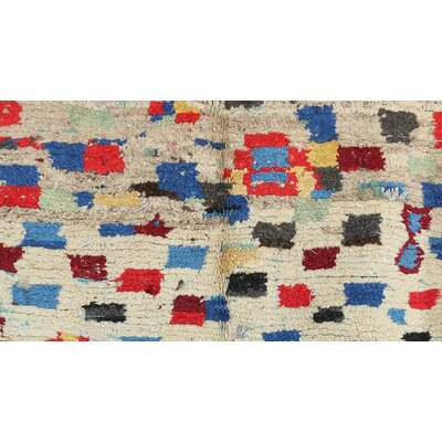 Azilal Vintage Moroccan Hand Knotted Wool Beige/Blue/Red Area Rug