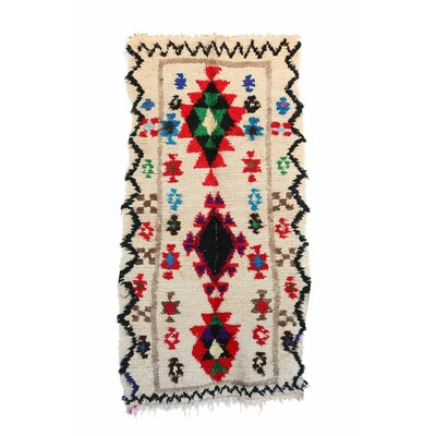 Azilal Vintage Moroccan Hand Knotted Wool Beige/Red/Black Area Rug