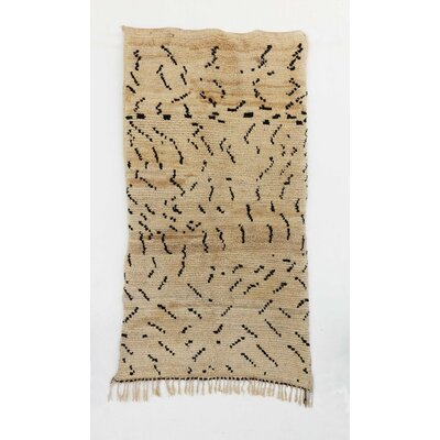 Azilal Vintage Moroccan Hand Knotted Wool Beige/Brown Area Rug