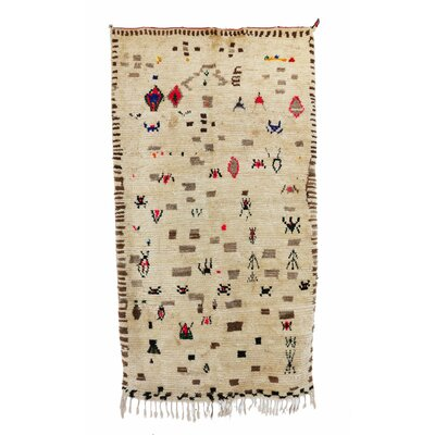 Azilal Vintage Moroccan Hand Knotted Wool Beige/Brown/Red Area Rug