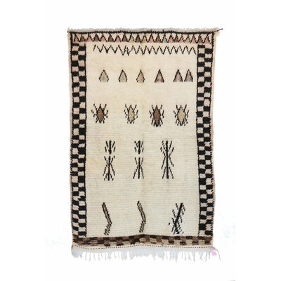 Azilal Vintage Moroccan Hand Knotted Wool Beige/Black Area Rug