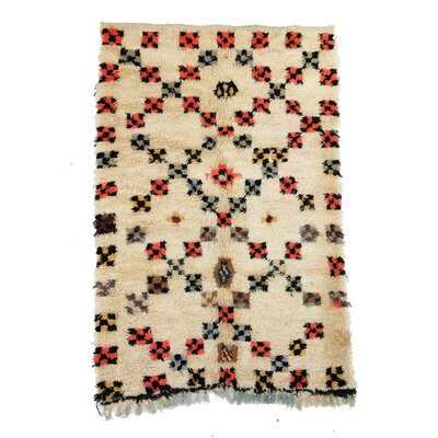 Azilal Vintage Moroccan Hand Knotted Wool Beige/Black/Red Area Rug