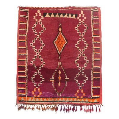 Azilal Vintage Moroccan Hand Knotted Wool Red/Orange Area Rug