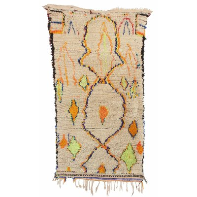 Azilal Vintage Moroccan Hand Knotted Wool Beige/Orange/Chartreuse Area Rug