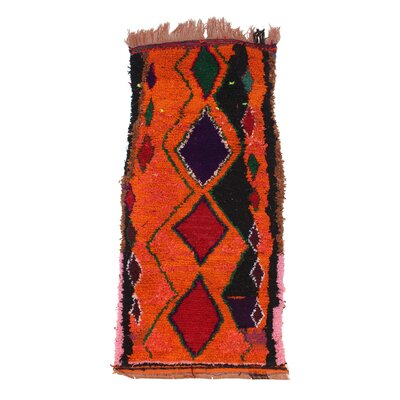 Azilal Vintage Moroccan Hand Knotted Wool Red/Black/Orange Area Rug