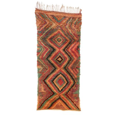 Azilal Vintage Moroccan Hand Knotted Wool Red/Teal/Brown Area Rug