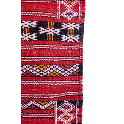 Aknif Moroccan Hand Knotted Wool Red/Black Area Rug