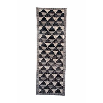 Aknif Moroccan Hand Knotted Wool Black/Gray Area Rug