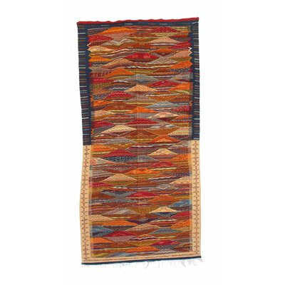 Aknif Moroccan Hand Knotted Wool Red/Navy Area Rug