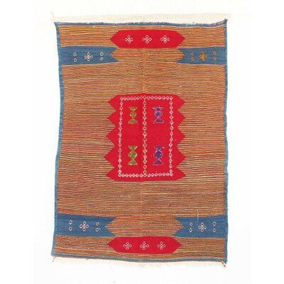 Aknif Moroccan Hand Knotted Wool Orange/Blue Area Rug