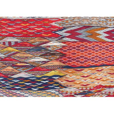 Aknif Moroccan Hand Knotted Wool Red/Blue Area Rug