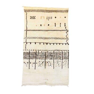 Beni MRirt Vintage Moroccan Hand Knotted Wool Cream/Black Area Rug