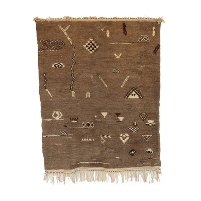 Beni MRirt Vintage Moroccan Hand Knotted Wool Brown Area Rug