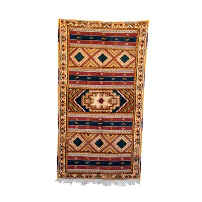 Glaoui Vintage Moroccan Hand Knotted Wool Yellow/Red Are Rug