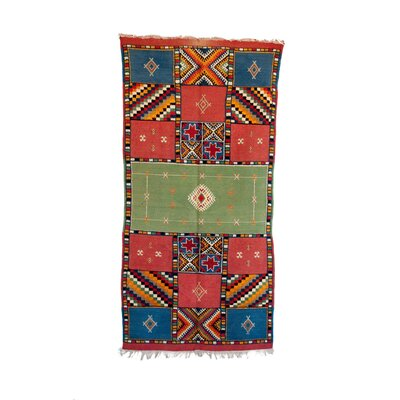 Taznakth Vintage Moroccan Hand Knotted Wool Green/Red/Blue Are Rug