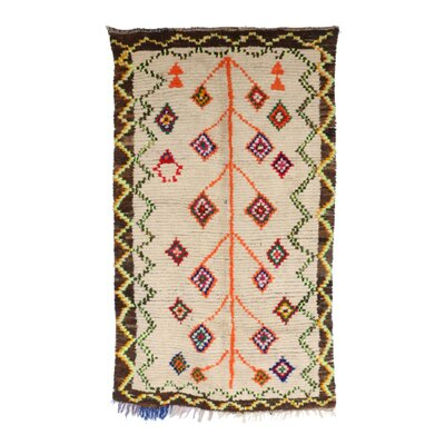 Ourika Vintage Moroccan Hand Knotted Wool Beige/Orange/Green Are Rug