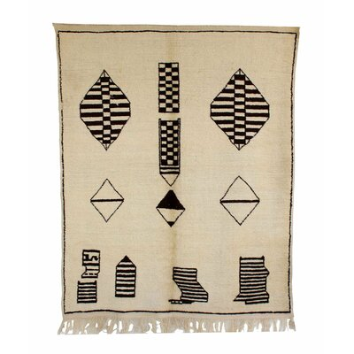 Beni Ourain Moroccan Hand Knotted Wool Cream/Black Area Rug