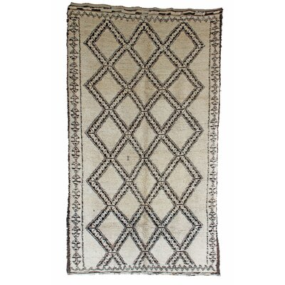Beni Ourain Vintage Moroccan Hand Knotted Wool White/Black Area Rug