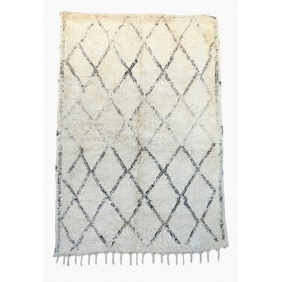 Beni Ourain Vintage Moroccan Hand Knotted Wool Cream/Black Area Rug