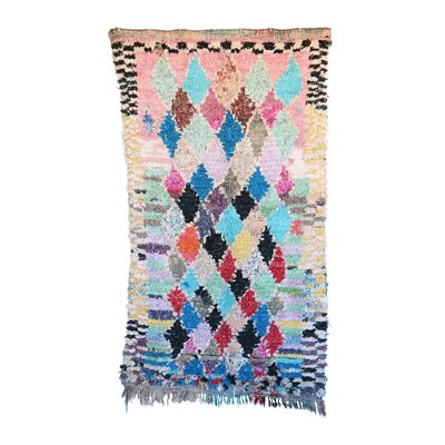 Boucherouite Vintage Moroccan Hand Knotted Wool Pink/Blue Area Rug