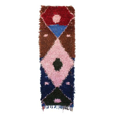 Boucherouite Vintage Moroccan Hand Knotted Wool Pink/Brown Area Rug