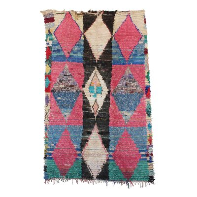 Boucherouite Vintage Moroccan Flat-Woven Pink/Blue Area Rug