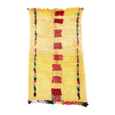 Boucherouite Vintage Moroccan Hand Knotted Wool Yellow/Red Area Rug