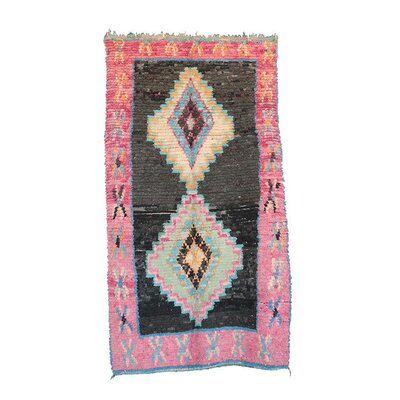 Boucherouite Vintage Moroccan Hand Knotted Wool Pink/Black Area Rug