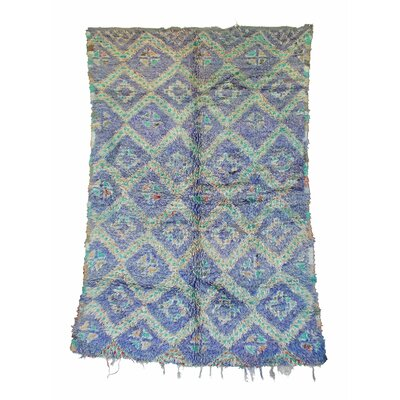Zayane Vintage Moroccan Hand Knotted Wool Purple/Teal Are Rug