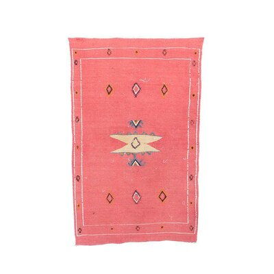Aknif Moroccan Hand Knotted Wool Pink/Cream Area Rug