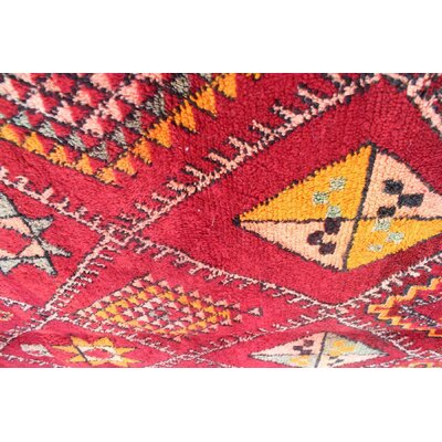 Zayane Vintage Moroccan Hand Knotted Wool Red/Orange Are Rug