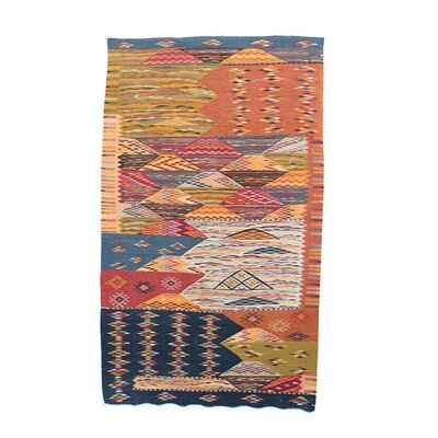 Aknif Moroccan Hand Knotted Wool Navy/Orange Area Rug