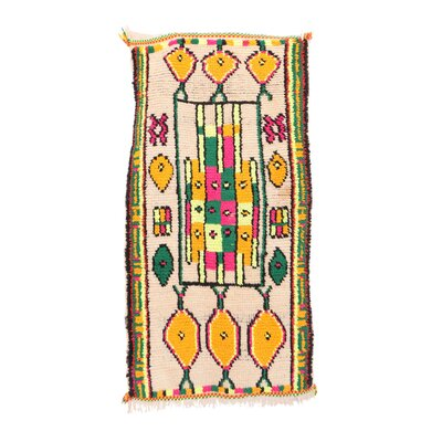 Azilal Vintage Moroccan Hand Knotted Wool Beige/Green/Orange Area Rug